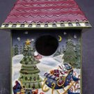 Christmas Holiday Ceramic Bird House Ornament