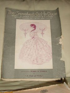 The Sweetest Girl in Dixie Vintage Sheet Music 1903