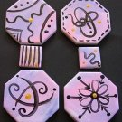 4 Hand Painted Just Doodling Medallions Focal and 2 Free HP Mosaic Tiles Lot 5