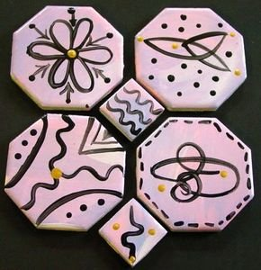 4 Hand Painted Just Doodling Medallions Focal and 2 Free HP Mosaic Tiles Lot 4