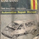 Ford Aeorstar All 2WD Mini-Vans 1986 through 1994 Haynes