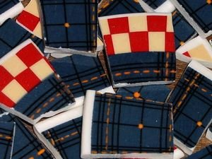 100 Blue Jean Diner Mosaic Tiles Old Country Diner Red White Blue Check Motif
