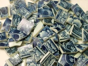 82 Blue & White Toile Double Sided Mosaic Tiles
