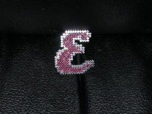 Personalized initial pin or magnet - either cross stitch or beaded