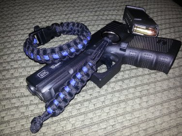 Black Thin Blue Line 550 paracord bracelet with Whistle Buckle and Matching Key Fob