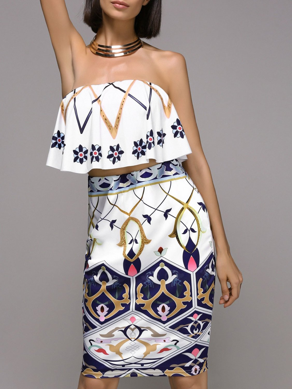 Women's Trendy Strapless Frilled Top and High Waist Skirt Set