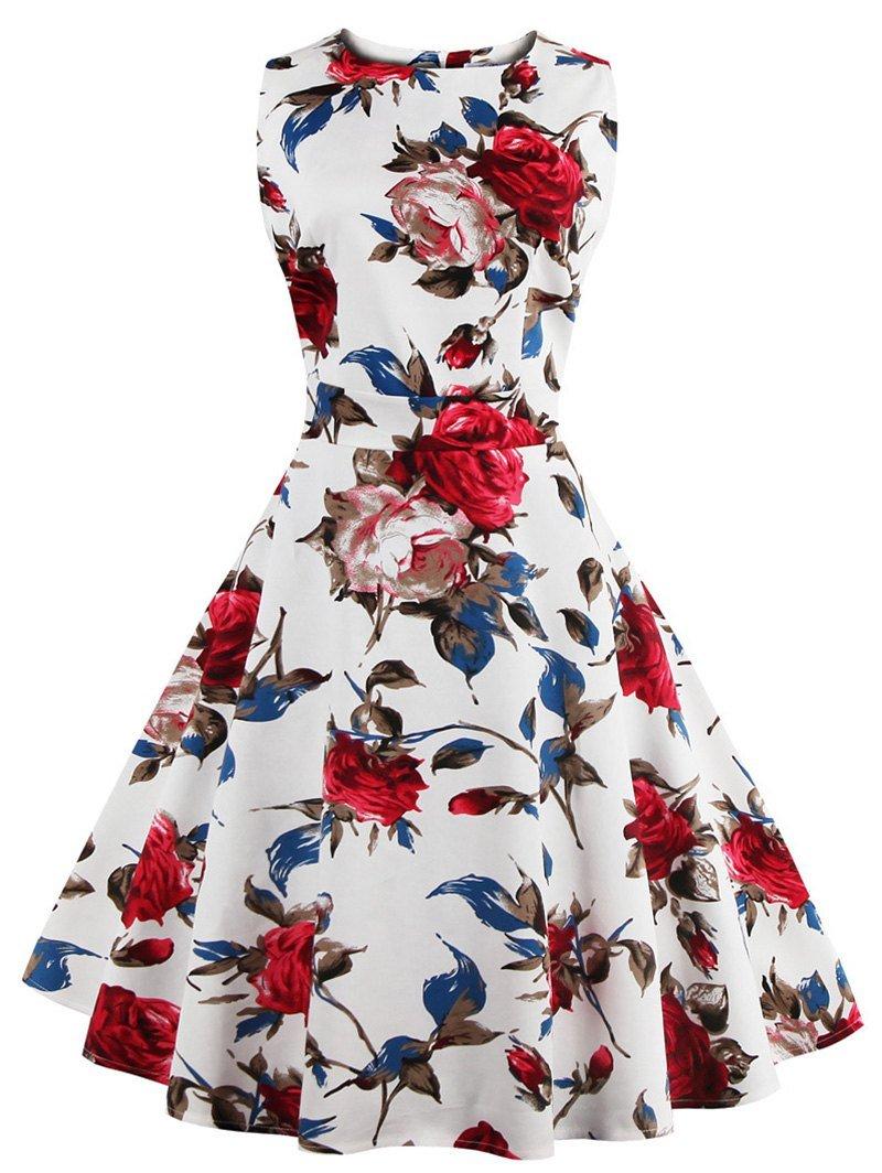 Vintage Sleeveless Floral Print Dress For Women