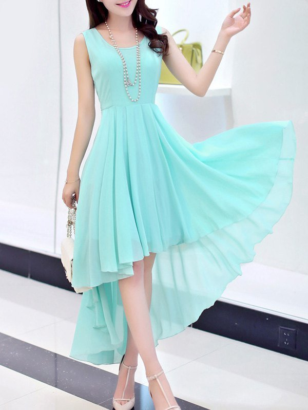 Chic Scoop Neck Sleeveless Asymmetrical Solid Color Dress For Women
