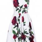 Vintage Square Neck Sleeveless Floral Print Dress For Women