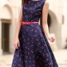 Vintage Jewel Neck Cherry Print Sleeveless Flare Dress For Women