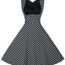 Retro Style Polka Dot Print Sweetheart Neck Dress For Women