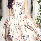 Vintage Floral Print Round Collar Sleeveless Dress For Women