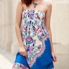 Bohemian Strapless Sleeveless Floral Print Dress For Women