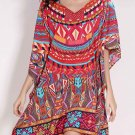 Retro Style Batwing Sleeve V Neck Loose Ethnic Print Dress For Women