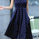 Sweet Style Round Neck Sleeveless Floral Print Zippered Dress For Women