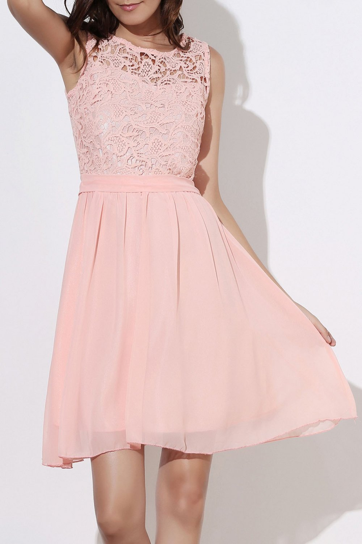 Stylish Round Collar Sleeveless Club Dress For Women