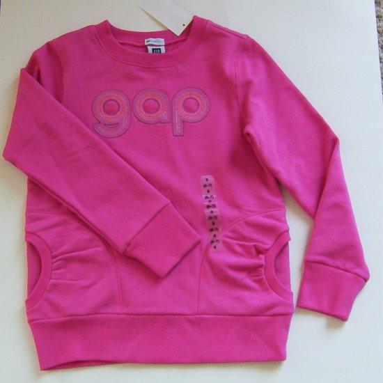 NWT  Gap Girls Hot Pink LOGO sweatshirt/ pockets Sz 6-7