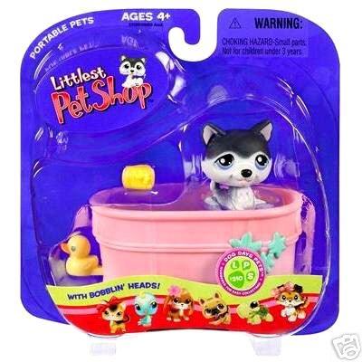 Littlest Pet Shop Husky in Bathtub Tub Little PetShop New