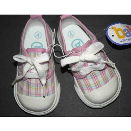 BABY GIRL Pink Plaid Sneakers Tennis Shoes Crib New 6