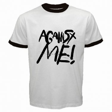 Against Me Logo T-shirt White with Black Ringer Punk Rock Band S to XXXL