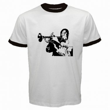 Louis Armstrong White Ringer T-Shirt Jazz Trumpet Trumpeter S to XXXL