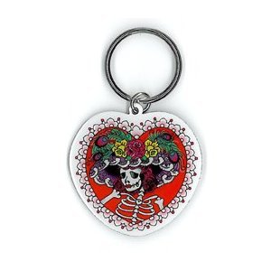 Sunny Buick - Flower Hat Sugar Skull - Metal Keychain by Sunny Buick