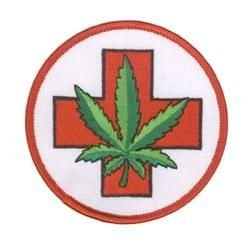 Novelty Iron On Pot Leaf Weed Patch - Medical Marijuana Red Cross Weed Pot Leaf Applique