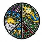 Dan Morris Novelty Iron On Patch - Ornate Peace Sign w/ Sun & Moon