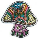 Dan Morris Artist Iron On Patch - Psychodelic Mushroom w/ Butterfly & Stars Applique