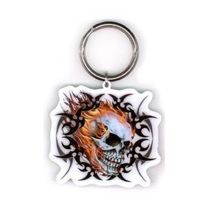 Hot Leathers - Tribal Flaming Skull - Metal Keychain