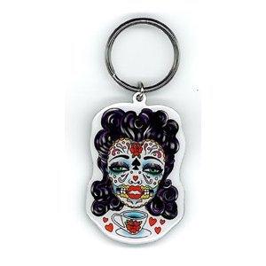 Sunny Buick - Tea Sugar Skull Lady - Metal Keychain