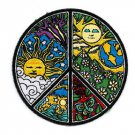 Dan Morris Novelty Iron On Patch - Ornate Peace Sign w/ Sun & Moon