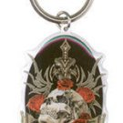 TOP HEAVY - NO REGRETS BRONZE SKULL WITH RED ROSES - METAL KEYCHAIN KEYRING  NEW