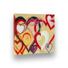 """Handpainted Painting BLENDED HEART Abstract 8""""X9"""" Stretched Frame by Lombardi"""