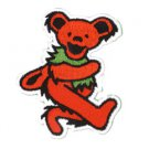 GRATEFUL DEAD DANCING BEAR PATCH, ART BY GDP Inc. RED EMBROIDERED IRON ON * NEW