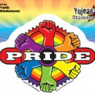 "FRANK WIEDEMANN'S - GAY PRIDE TARGET OF RAINBOW FISTS - STICKER DECAL 5""X4"" NEW"