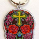 ROSE CROSS SUGAR SKULL *DAY OF THE DEAD* METAL KEYCHAIN NEW BY SUNNY BUICK