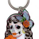 SUNNY BUICK - LADY SUGAR SKULL - METAL KEYCHAIN DAY OF THE DEAD KEY RING *NEW*