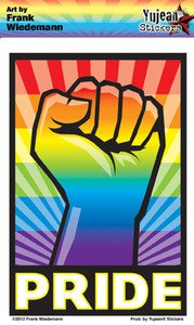 "FRANK WIEDEMANN'S "" RAINBOW FIST GAY PRIDE ""STICKER DIE CUT 3.5""X5' LONG LASTING"