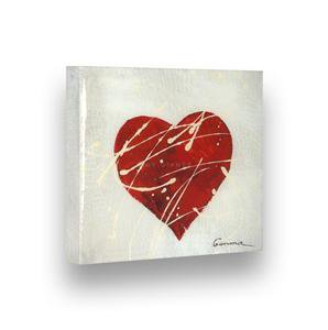 "Hand Painted GLOSSY Painting QUESTED HEART - Stretched Wooden Frame Canvas 7""X8"""