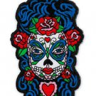BUTTERFLY EYES SUGAR SKULL LADY DAY OF THE DEAD IRON ON PATCH BY SUNNY BUICK NEW