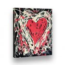 "Hand Painted Painting of Livily HEART Abstract 8""X9"" Stretched Frame by Lombardi"