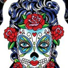 SUNNY BUICK BUTTERFLY EYES SUGAR SKULL STICKER TATTOO DAY OF THE DEAD STICKER