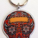 ORANGE SUGAR SKULL *DAY OF THE DEAD* METAL KEYCHAIN NEW BY SUNNY BUICK