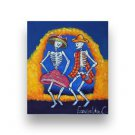 BAILE, DAY OF DEAD Dia De Los Muertos Stretched Canvas Art Painting 7X8 BY: Cruz