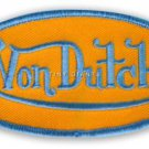 "VON DUTCH, YELLOW OVAL PATCH WITH SKY BLUE LETTERS, WOVEN, SEW-ON, 4""x2"" * NEW"