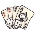 AFTERMATH CARDS AND DICE ACES  HIGH GAMBLING APPLIQUE PATCH IRON - ON LARGE  NEW