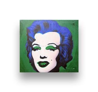ANDY WARHOL, MARILYN MONROE Canvas Art Print & Painted FRAME 9X8 DRK GREEN, BLUE