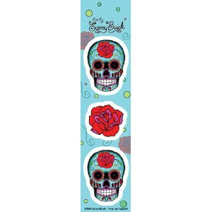 SUNNY BUICK MINI ROSE SUGAR SKULL STRIP STICKER TATTOO DAY OF THE DEAD STICKER