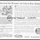 Vanta Directions *Wash And Care Of Baby Garment*  8X10 Photo